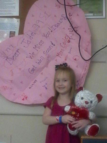 Her class made her a Valentine Get Well Soon Card and got her a Bear! So Thoughtful.
